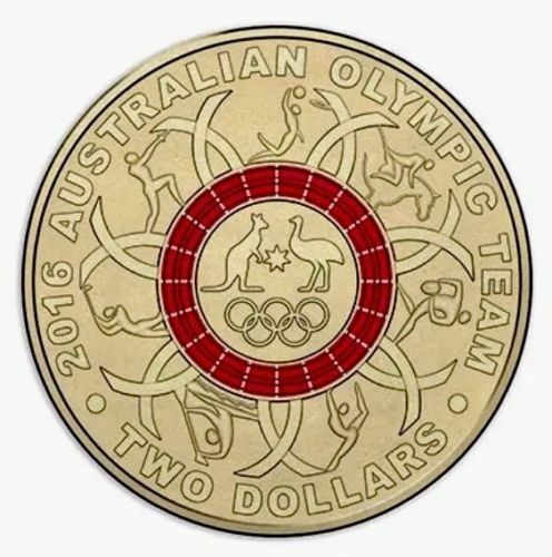 """2016 Olympic $2 Coin Australian Two Dollars /"""" RED Ring /"""""""
