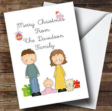 From Our Family Girl Baby White Cat Personalised Christmas Card