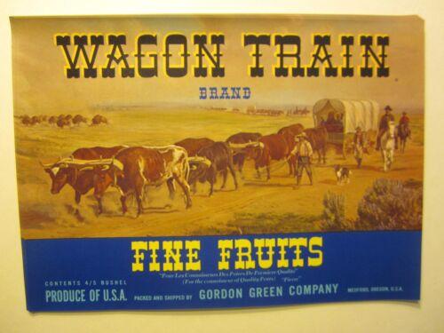 BLUE Wholesale Lot of 25 Old Vintage WAGON TRAIN Fruit LABELS Western Cowboy