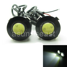2 x White DC12V 3W 18mm Push Snap in Eagle Eye Car LED DRL Light Slim Black 12V