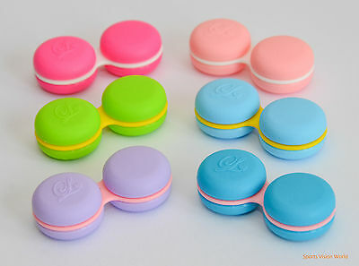 3 x  Macaroon Contact Lens Storage / Soaking Case Cute Box Travel Cute Free PP