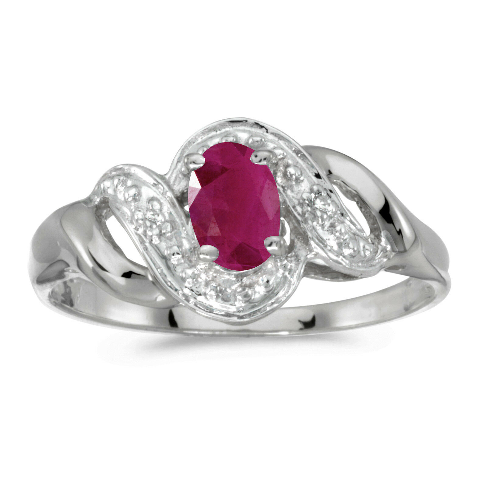 14k White gold Oval Ruby And Diamond Swirl Ring