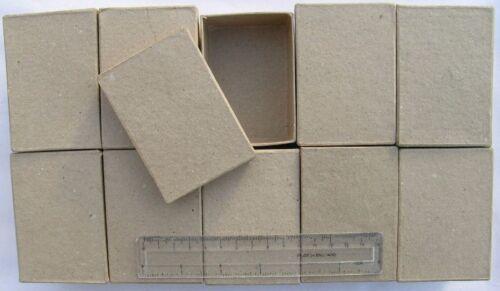 Qty-10 RECTANGULAR Paper Mache Gift Boxes 8.5x6x4cm Brown Papier Mache