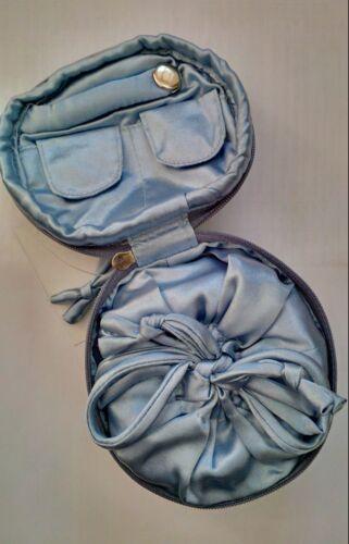 Blue Cherry Blossom Print Travel Jewellery Zipped Case Manumit Fair Trade BNWT