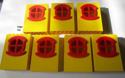 Lego Fabuland x635c01 x7 Window Fenêtre Yellow Jaune Red rouge du 3672 F23