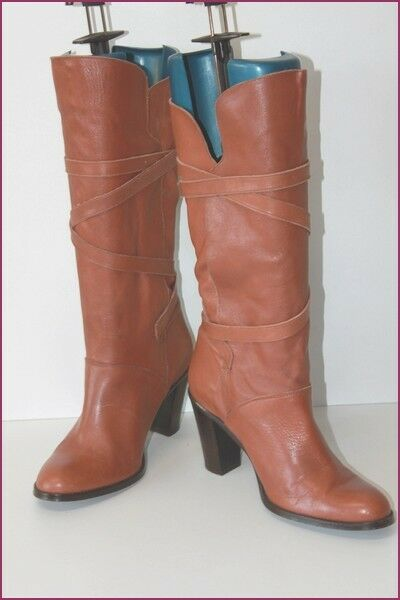 ANDRE Boots heels Leather Flexible to Thongs T 39 TOP CONDITION