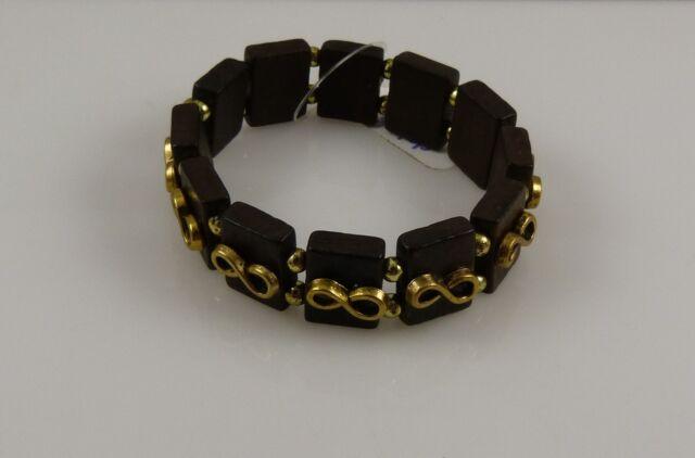 stretch bracelet infinity symbol wood like look stretchy