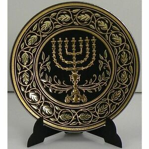 Damascene-Gold-Menorah-Miniature-Decorative-Plate-by-Midas-of-Toledo-Spain-2938M