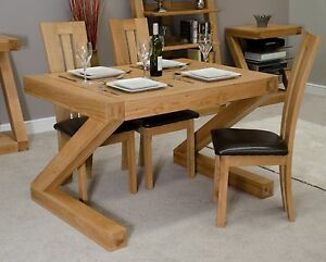 Image Is Loading Z Solid Oak Designer Furniture Small Chunky Dining