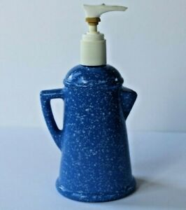 Vintage-Avon-Country-Style-Coffee-Pot-Blue-soap-lotion-empty-non-working-pump