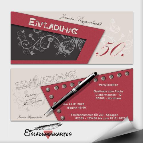 Einladungskarten Geburtstag ● pen Karte ● mit Briefumschläge ● 10 20 30 40 50