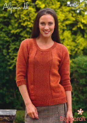 Stylecraft Knitting Pattern 8771 Ladies Moss Stitch Sweater Alpaca Easy DK 28-46