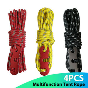4Pcs Wind Rope With Hooks Buckle For Camping Parachute Cord Tents Rope Strap+