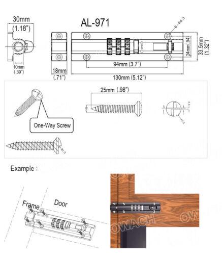 Combination Bolt gate Lock OWACH AL-971 Combi bolt latch SUS Sliding bolt