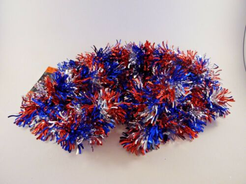 12 FT Wavy Patriotic Red Silver Blue Foil Tinsel Veterans Day Decoration