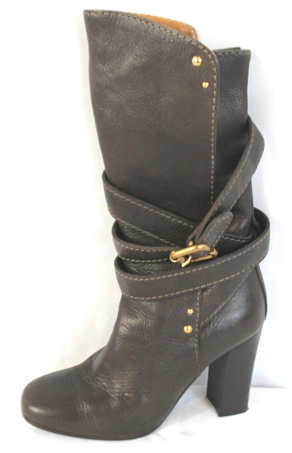 1,150 CHLOE Brown Leather Mid Calf Tall Boots Wrap Around Buckle Heels Sz 36.5
