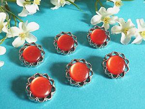 1241B-Prunkvoller-Knoepfe-034-Candy-Crush-034-Rot-Silber-Packung-6-Knoepfe-Ep-1950