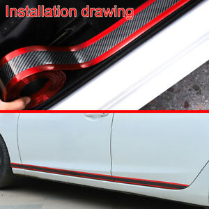 1M-Car-Door-Sill-Scuff-Plate-Carbon-Fiber-Pedal-Protector-Strip-Red-Accessories