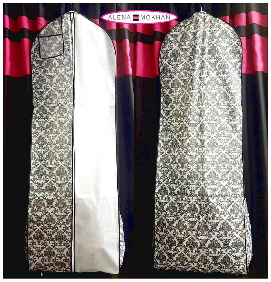 Wedding Gown Garment Bag: Black White Breathable Damask Wedding Gown Prom Dress