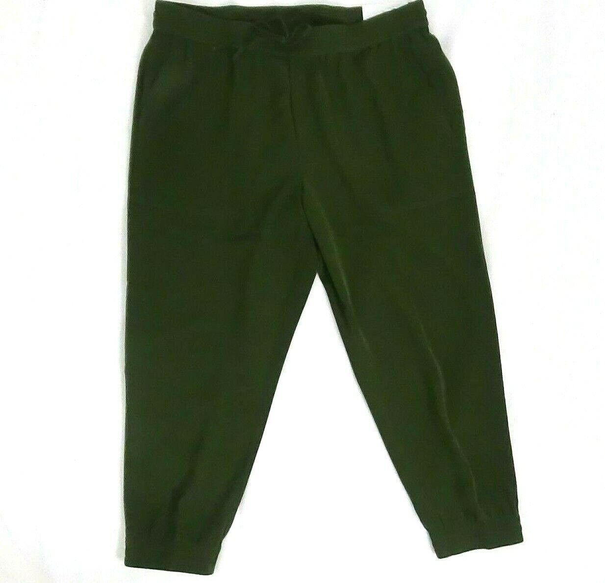 79.99 Ann Taylor Factory Women Jogger Pants Green Olive Large Elastic Petite
