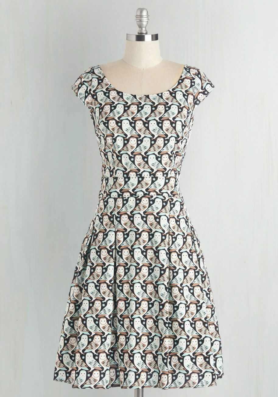 Modcloth Retrolicious retro vintage-look Owls dress 40s 50s Pockets  NEW Small S
