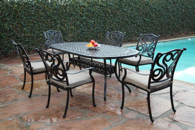 Strange 7 Piece Cast Aluminum Outdoor Patio Furniture Dining Set G Perris Collection Uwap Interior Chair Design Uwaporg