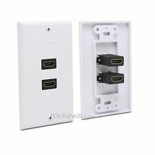 2-Port HDMI 1.4 Wall Face Plate Panel Cover Coupler Outlet Extender 1080P White