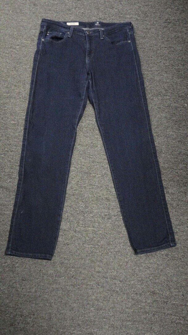 AG JEANS Dark Wash Cotton Blend Mid Rise The Stilt Cigarette Leg Jeans 30 GG2601