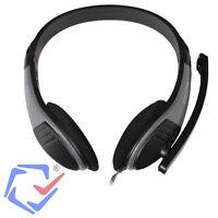 Stereo Kopfhörer Mit Mikrofon Pc Laptop Headset Computer Schwarz 3,5mm Stecker