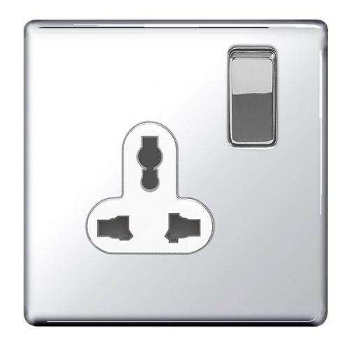 BG British General Chrome Simple 1 Gang Way SP Screwless universel secteur socket