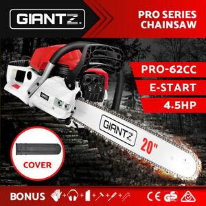"Giantz 62cc Petrol Commercial Chainsaw E-Start 20"" Bar Top Handle Tree Chain Saw"