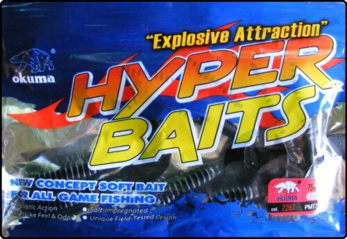 OKUMA Hyper Bait 3 Inch Soft Curly Tail Jelly Worms Artificial Fishing 10 Pack