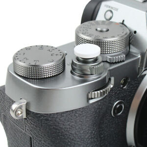 2PC, Silver Foto/&Tech Soft Shutter Release Button Compatible with Fuji X-T20 X-T10 X-T3 X-T2 X-PRO2 X-PRO1 X100F X100T X100S X30 X-E2S X-E3 X-E2//Sony RX1R II RX10 IV III II//Lecia M10 M9//Nikon Df F3