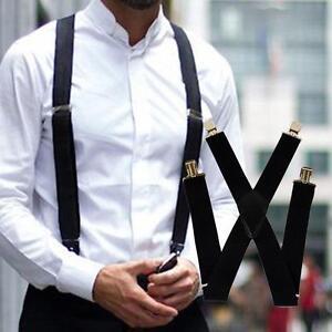 fe995a0e6 Wide Adjustable Elastic Mens Unisex X-Back Suspenders Clip-On Braces ...