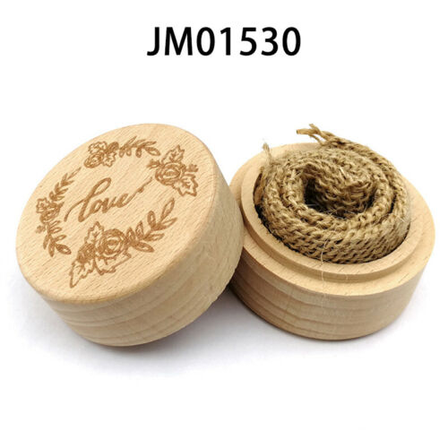 Vintage Wooden Rings Holder Bearer Box Ring Box Jewelry Boxes Round Gifts Case