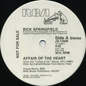 RICK-SPRINGFIELD-Affair-Of-The-Heart-1983-U-S-White-Label-Promo-12inch