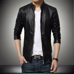 Gordania Stylish Slim Fit Formal Faux Leather Jacket For Men GD281 BL