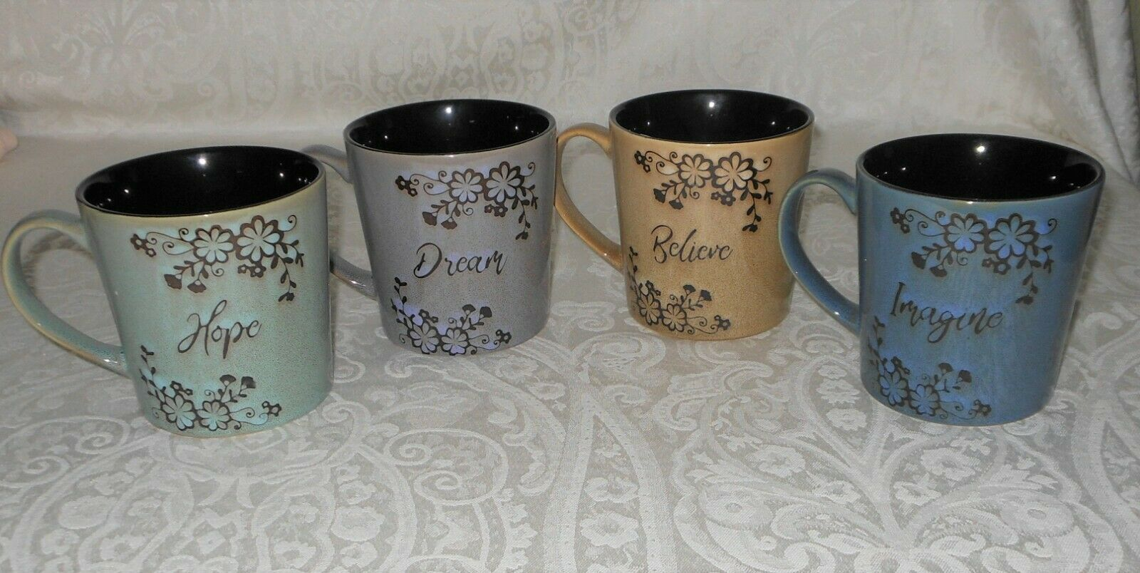 4 Pfaltzgraff Inspirational floral café thé mugs Dream Hope Neuf avec étiquettes livraison gratuite