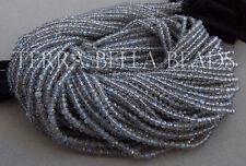 "12.5"" strand AAA SPECTROLITE LABRADORITE faceted rondelle beads 2.5mm - 3mm blue"