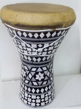 Large Egyptian Wooden Tabla Darbuka Drum Doumbek Goat Skin Inlaid Handmade 11""