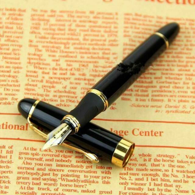 TOP QUALITY Jinhao X450 Black Medium Nib Gold Trim Fountain Pen Nice Gift