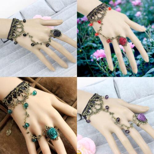 Vintga Elegant Gothic Style Lace Red Rose Bracelet with Adjustable Finger Ring