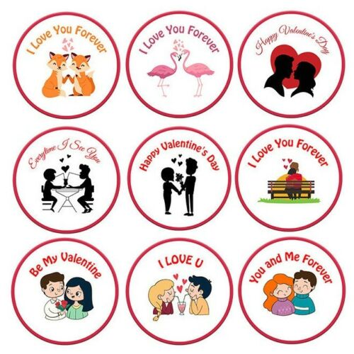 X 70 VALENTINES DAY ROUND STICKERS CARD GIFT BAG THANK YOU CHOCOLATE LABEL SEAL