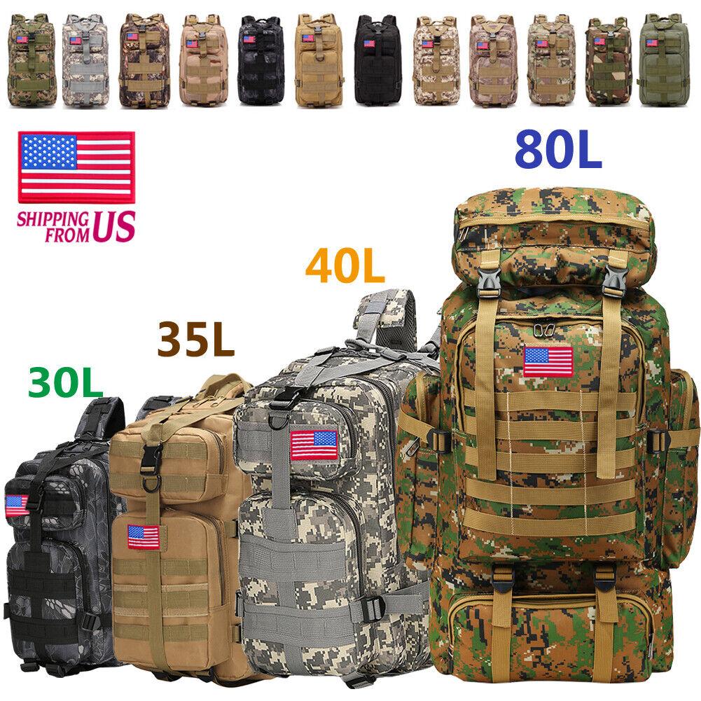 30L/35L/40L/80L Military Tactical Backpack Rucksack Camping Hiking Tre... - s l1600