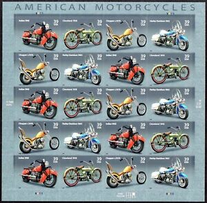Details about US Scott 4085-4088 (4088a) American Motorcycles - MNH sheet  of 20 Stamps