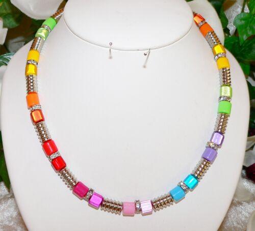 Collar cadena brillante Miracle laminado plata multicolor multicolor pedrería 101i