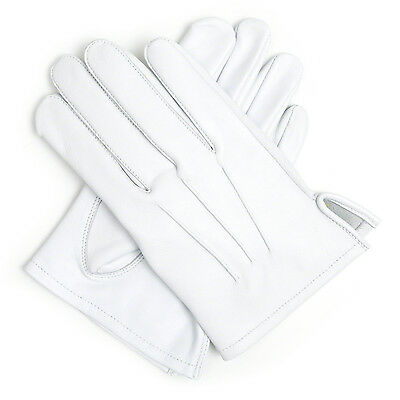 100% Leather White Masonic Wedding Brand Marching Cadet Navy Gloves