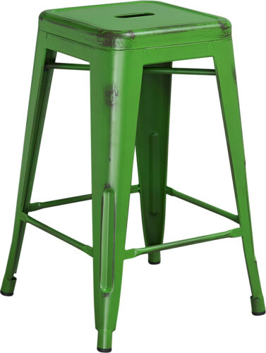 24/'/' Industrial Style Antique Green Restaurant Metal Stool For Indoor