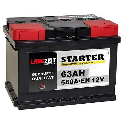 LANGZEIT Autobatterie 12V 63Ah ersetzt 44Ah 50Ah 54Ah 55Ah 56Ah 60Ah 62Ah 65Ah