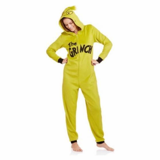 New WOMENS XL The Grinch Hooded One-Piece Pajamas Fleece Union Suit DR SUESS
